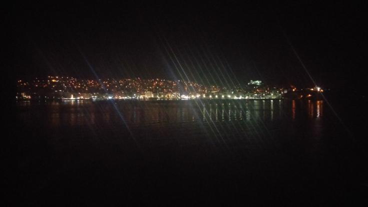 Kavala at Night from the Nissos Rhodos